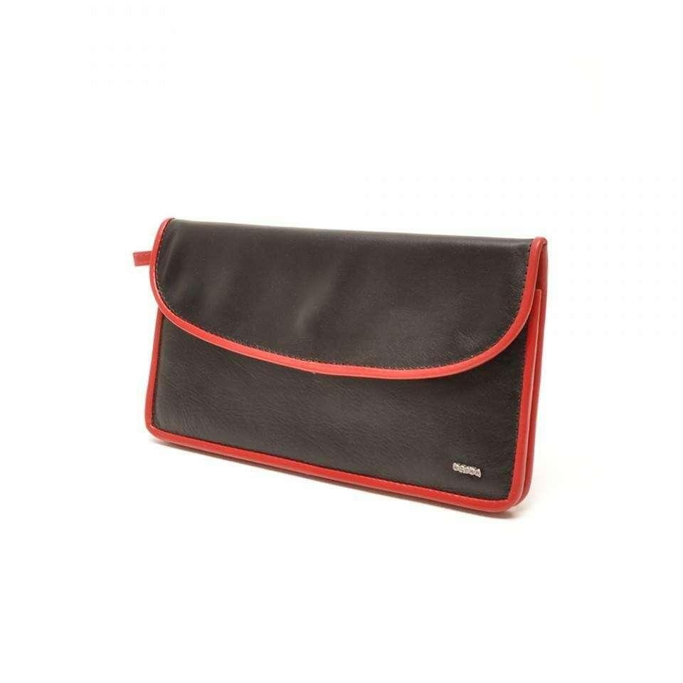 Leren Dames Portemonnee.Berba Leren Damesportemonnee Soft 001 164 15 Zwart Rood