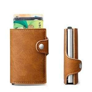 Creditcard houder met cardprotector (RFID) voor 6 pasjes in pu leather bruin_003