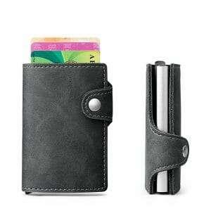 Creditcard houder met cardprotector (RFID) voor 6 pasjes in pu leather grijs_008