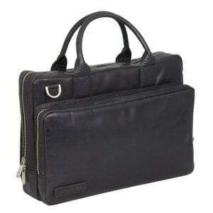 "Business Laptoptas Greased Rundleer 2-vaks 14"" Black 271"