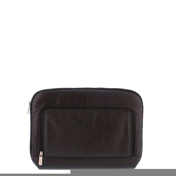 """Laptop Sleeve Soft Nappaleer 14"""" met voorvak Black 4078"""