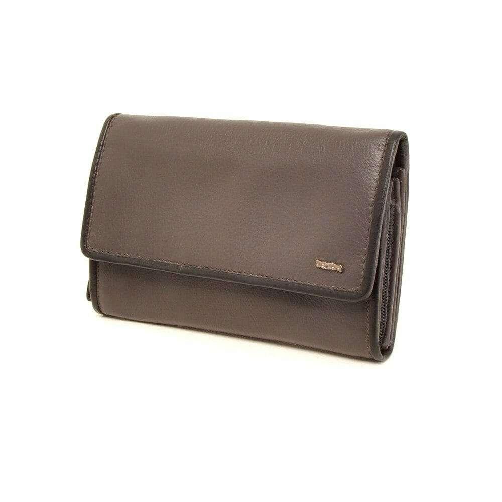 d6780ced472 Berba Leren dames portemonnee Soft 001-203 - Grijs / Zwart Grijs / Zwart