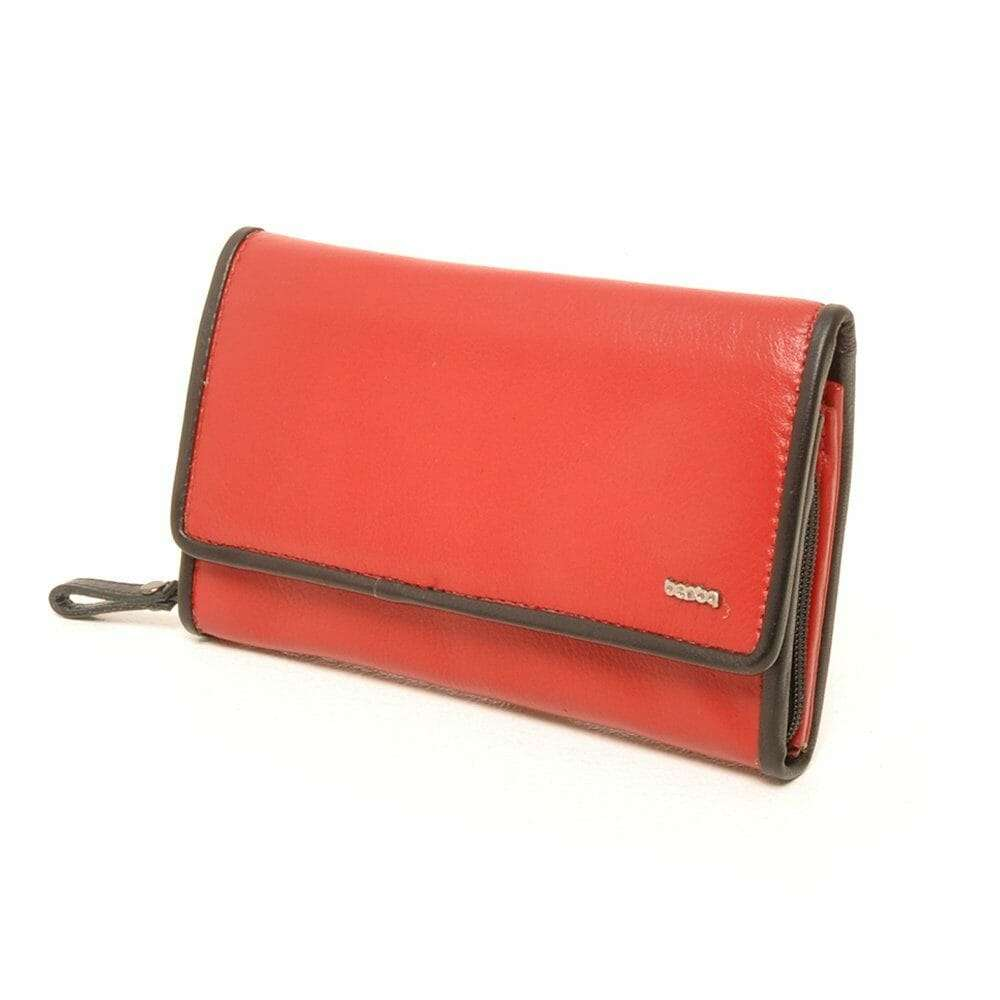 Leren Dames Portemonnee Groot Veel Vakjes.Berba Leren Dames Portemonnee Soft 001 203 Rood Zwart Rood Zwart